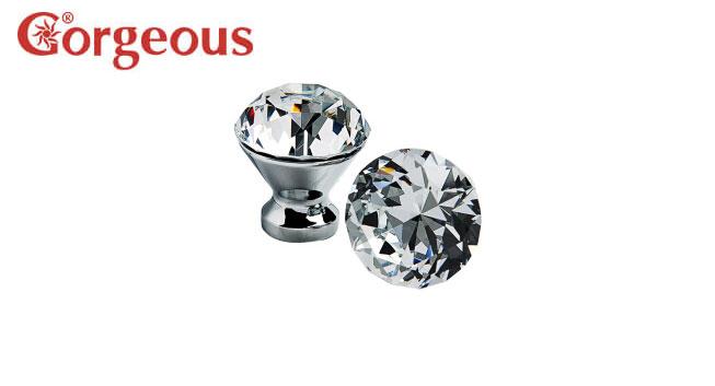 欧式小奢华K9水晶柜门单孔钻石拉手抽屉镶钻衣柜门把手